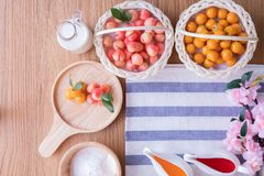 Copy space tablecloth with Delectable imitation fruits, Fruit Shaped Mung Beans, Thai traditional dessert. Delectable imitation fruits, Fruit Shaped Mung Beans stock image