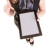 Copy space on tablet touchpad screen in female hands Stock Photos