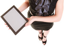 Copy space on tablet touchpad screen in female hands Royalty Free Stock Photography