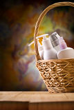 Copy space view on the skincare items Royalty Free Stock Images