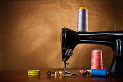 Copy space vintage sewing tools Royalty Free Stock Photo