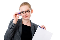 Copy space woman happy holding blank sign Stock Image