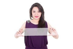 Copy space woman happy holding red sign Stock Photo
