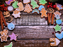 Copy spice of Christmas cookies on wooden table. Royalty Free Stock Image