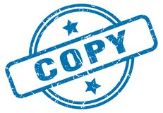 Copy stamp. Copy grunge vintage stamp isolated on white background. copy. sign royalty free illustration