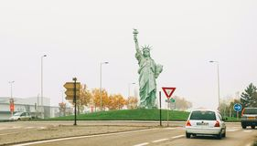 Copy of Statue of Liberty made by Auguste Bartholdi. COLMAR, FRANCE - NOV 23, 2014: Copy of Statue of Liberty made by Auguste Bartholdi at the entrance of Colmar Stock Images
