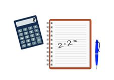 Copybook with arithmetic example, calculator and pen royalty free illustration