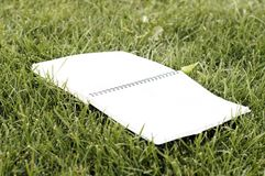 Copybook auf Gras lizenzfreie stockbilder