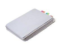 Copybook en blanco con las etiquetas engomadas Foto de archivo libre de regalías