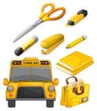 Copybook, Feder, Bleistift und andere Ausrüstung Stockfoto