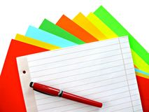 Copybook and pen Stock Image