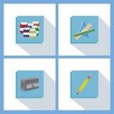 Copybook, pena, lápis e o outro equipamento Fotos de Stock Royalty Free