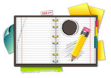 Copybook and pencil. On white background Vector Illustration
