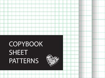 Copybook sheet pattern set. Squared paper backgrounds Royalty Free Stock Photo
