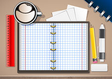 Copybook on the table. With objects for school Stock Illustration