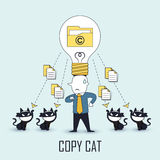 Copycat concept. Data be stolen by others in line style Royalty Free Stock Photography