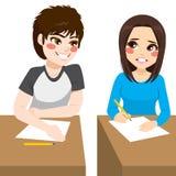 Copying Exam Boy Stock Image