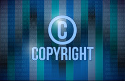 Copyright and binary illustration design. Over a blue background Stock Photo