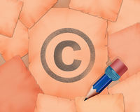 Copyright C symbol and small pencil with it. Illustration work Stock Photo