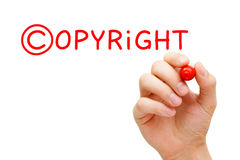 Copyright Concept Red Marker. Hand writing Copyright concept with red marker on transparent wipe board Stock Images