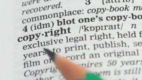 Copyright definition på engelsk ordlista, skydd för lagliga rätter som publicerar lager videofilmer