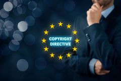Copyright directive. Concept - EU protection of creative content. Politician think about new royalty free stock photos