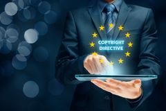 Copyright directive. Concept - EU protection of creative content stock photography