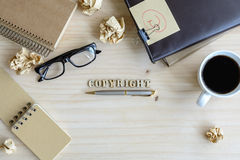 Copyright document folder and desk office stock photography