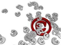 Copyright. And euro symbols on white background Stock Photo