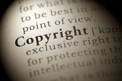 Copyright. Fake Dictionary, Dictionary definition of the word Copyright Stock Photo