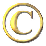 Copyright golden bevel symbol Stock Photos