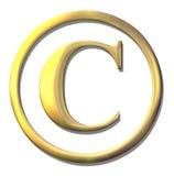 Copyright golden bevel symbol. On white Stock Photos