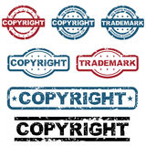 Copyright grunge stamps. Set of seven copyright grunge stamps isolated on white background.EPS file available Stock Photography