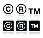 Copyright, icônes de vecteur de marque déposée réglées Image libre de droits
