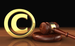 Copyright Icon And Gavel Law Symbol Royalty Free Stock Images