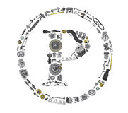 Copyright icone with auto parts for car Stock Image