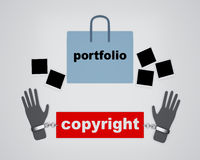 Copyright infringement symbol conceptual design Stock Image