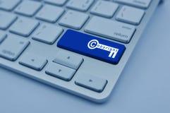 Copyright key icon on modern computer keyboard button, Copyright Royalty Free Stock Photos