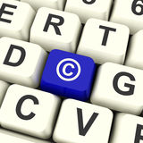 Copyright Komputerowego klucza seansu Błękitny znak firmowy Lub patent obraz stock