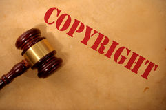 Copyright law concept. Copyright text heading and gavel Royalty Free Stock Photo