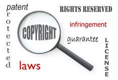 Copyright. Magnifying glass focused on the word copyright with associated terms around it Stock Photography