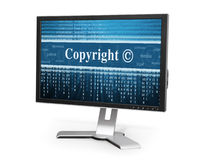 Copyright message concept. Copyright message on a computer monitor royalty free stock image