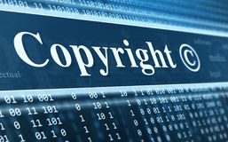 Copyright message concept. Binary code, technology background Stock Images