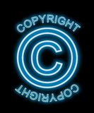 Copyright Neon Blue Royalty Free Stock Photo