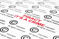 Copyright piracy. Close up of copyright piracy concept Royalty Free Stock Image