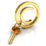 Copyright protect concept golden sign key Stock Photos
