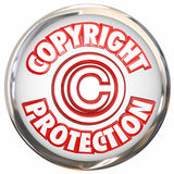 Copyright Protection 3d Words Symbol Icon Intellectual Property. Copyright Protection 3d symbol and words on a round white icon illustrating your intellectual Stock Photo