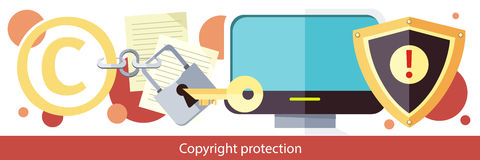 Copyright Protection Design Flat Stock Photography