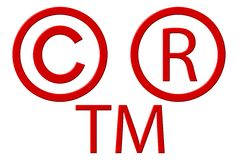 Copyright Registered And Trademark Symbols. Isolated over white Stock Photo