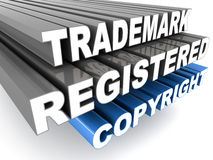 Copyright registered trademark. Registered trademark copyright words on white, concept of protected intellectual property rights Royalty Free Stock Photo